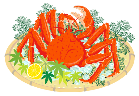 Red king crab on a bamboo basket, isolated on the white background Stok Fotoğraf - 109611371