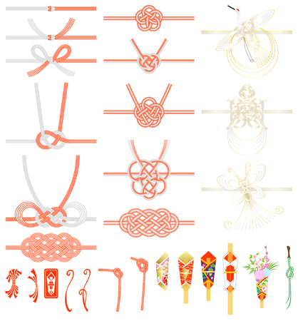 MIZUHIKI and NOSHI (Japanese traditional knot and ornament) isolated on white background Ilustracja