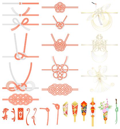 MIZUHIKI und NOSHI (japanischer traditioneller Knoten und Ornament) isoliert auf weißem Hintergrund Vektorgrafik