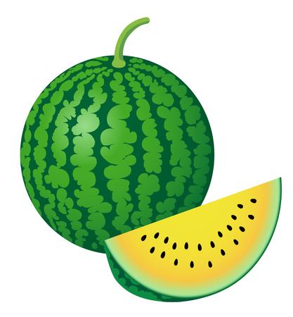 fresh watermelon, isolated on white background