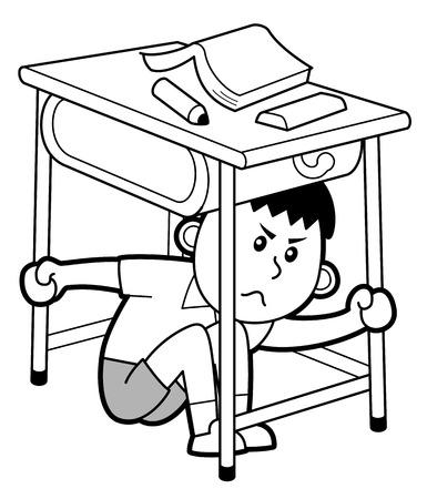 Chłopiec ukrywa się pod biurkiem, na białym tle. Ilustracje wektorowe