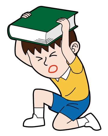 A boy crouching and protecting his head with his book, isolated on white background.