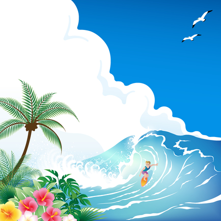 Surfing boy with surfboard on tropical blue wave