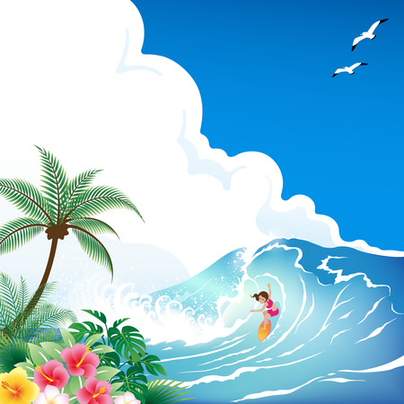 Surfing girl with surfboard on tropical blue wave