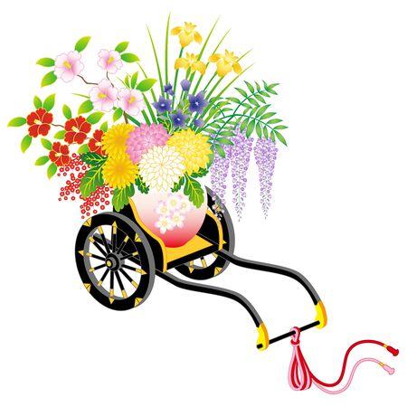 HANAGURUMA - Japanese traditional cart with flowers, isolated on white background Illustration