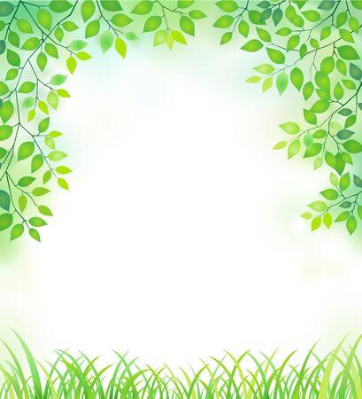 new green leaves frame Çizim