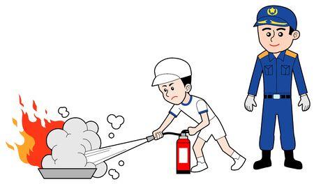 Fire fighting training, isolated on white background. Çizim