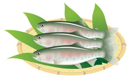 Rainbow trouts on a bamboo basket, isolated on the white background.
