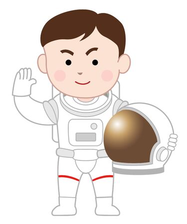 An astronaut saluting, isolated on white background.