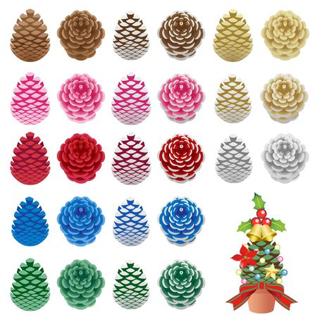 Painted pine cones isolated on the white background