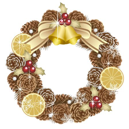 Christmas wreath, isolated on the white background
