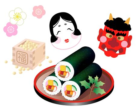 Ehomaki (Sushi Roll During Last Day of Winter)  イラスト・ベクター素材
