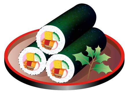 Ehomaki (Sushi roll during last day of winter), isolated on white background.  イラスト・ベクター素材