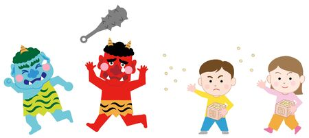 Kids Throwing Beans at the Demons on SETSUBUN (last day of winter), isolated on white background.  Japanese traditional event  Exorcism  イラスト・ベクター素材