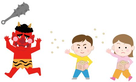 Kids Throwing Beans at the Red Demon on SETSUBUN (last day of winter), isolated on white background.  Japanese traditional event  Exorcism