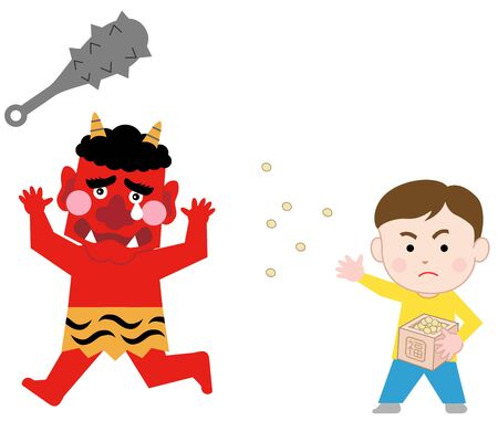 A boy throwing beans at the red demon on SETSUBUN (last day of winter), isolated on background white.  Japanese traditional event  Exorcism