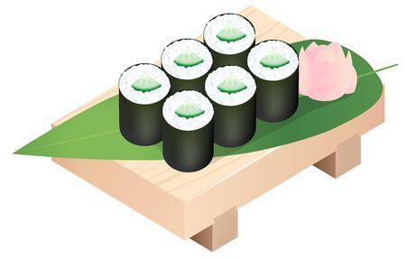 Sushi Rolls on a Sushi Tray Wooden, Isolated on White Background.