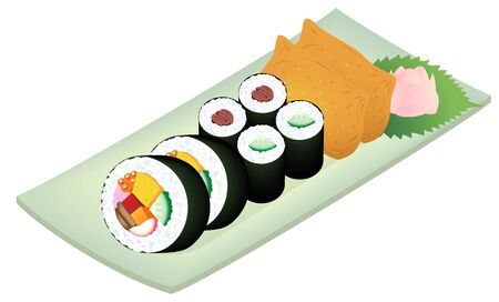 Sushi Rolls and INARI SUSHI (rice stuffed into pouches of deep-fried tofu) on a dish, isolated on white background.