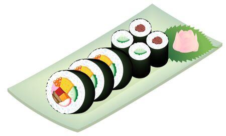 Sushi rolls on a dish, isolated on white background.