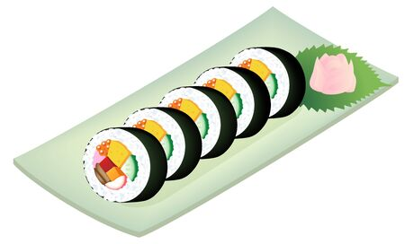 Sushi rolls on a dish, isolated on white background. Zdjęcie Seryjne - 138507103