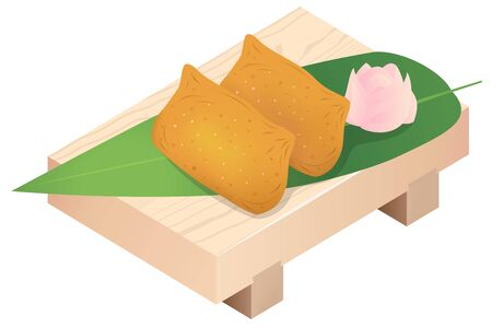 INARI SUSHI (rice stuffed into pouches of deep-fried tofu) on a sushi wooden tray, isolated on white background