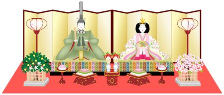 HINA-DOLLS (Japanese Traditional Emperor and Empress Dolls), isolated on white background.