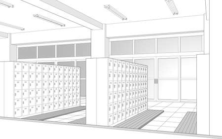 Elevated entrance School Cartoon-style background material