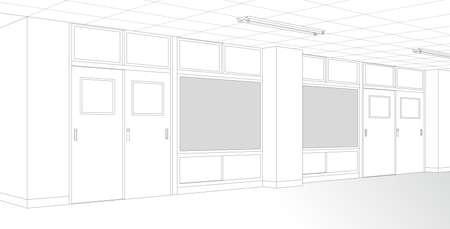 Classroom hallway School cartoon-style background material Vecteurs