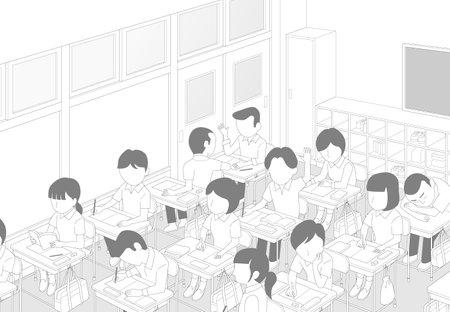 Classroom In Class School Cartoon Style Background Material Vecteurs