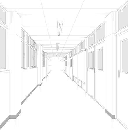School hallway cartoon style background material Ilustracje wektorowe