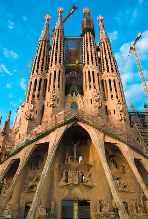 sagrada: Passion facade of Sagrada Familia in Barcelona