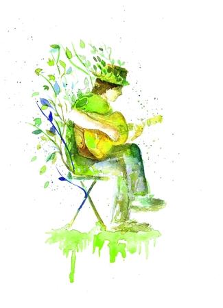 Man playing the guitar.Music. Watercolor handmade Stock Photo