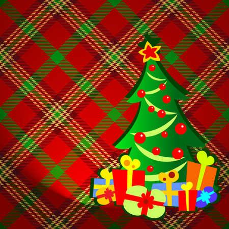 checkered label: christmas fir