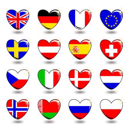 bandera de suecia: bandera coraz�n