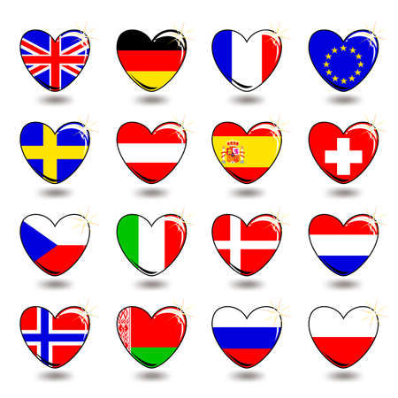 czech culture: heart flag Illustration