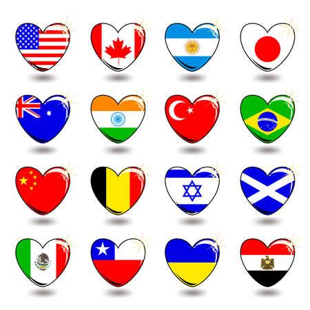 heart flag Vector