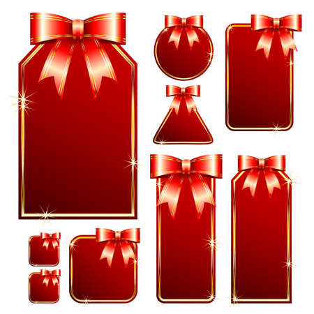 red tags with bow Stock Vector - 5861772
