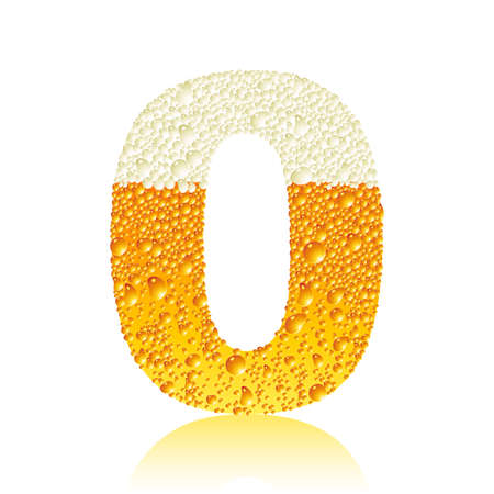 digit 0 with beer bubbles Vector