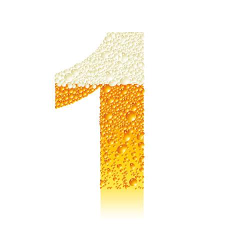 cyfra: cyfra 1 z piwa bąbelki