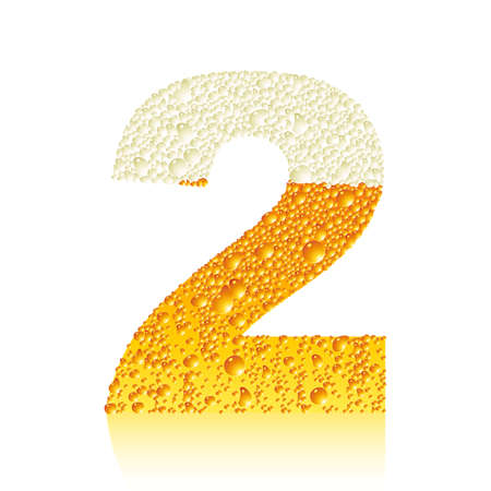 digit 2 with beer bubbles Vector
