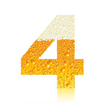 digit 4 with beer bubbles Vector