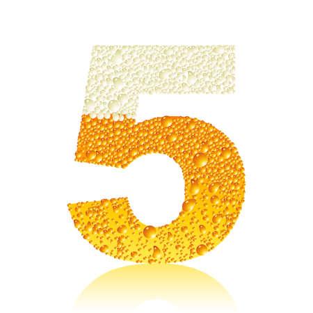 cyfra: cyfrą 5 z piwa bąbelki