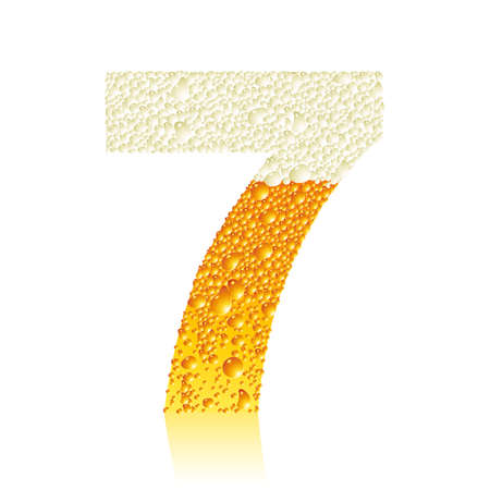 digit 7 with beer bubbles Vector