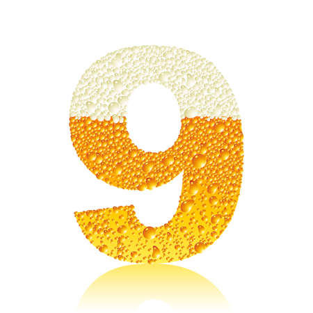digit 9 with beer bubbles Vector