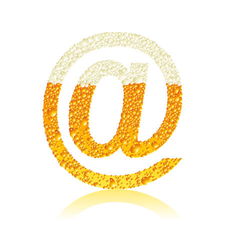 sign @ with beer bubbles Vector