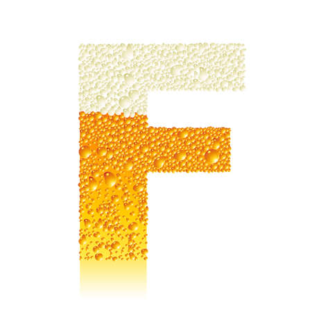 water liquid letter: alphabet beer F Illustration