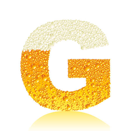 water liquid letter: alphabet beer G