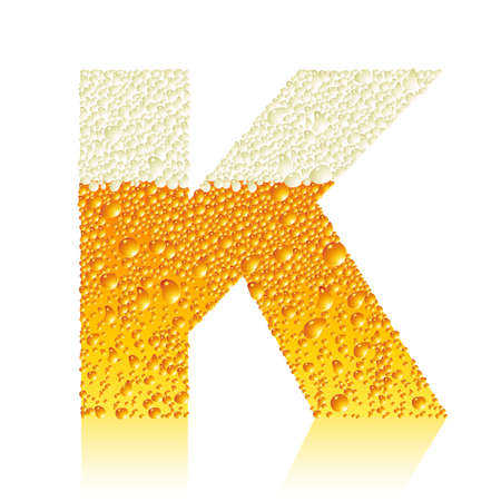water liquid letter: alphabet beer K