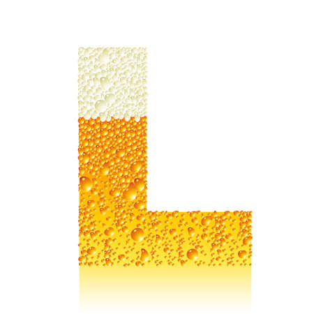 water liquid letter: alphabet beer L