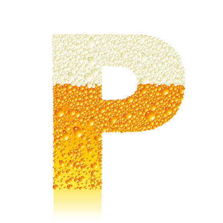 water liquid letter: alphabet beer P